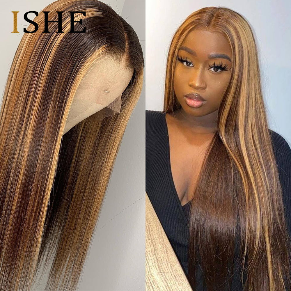 HD Transparent Lace Wig Blonde And Brown Highlight Wigs Brazilian Remy 13x6 Lace Front Human Hair Wigs Blonde Lace Front Wigs