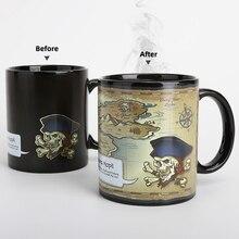Карта сокровища, цветная зарядка, чашка для воды, Пиратская, обесцвечивающая, керамическая кружка, Казначейская, температурная чашка, вкус, мультяшная кружка для путешествий, кофейная кружка