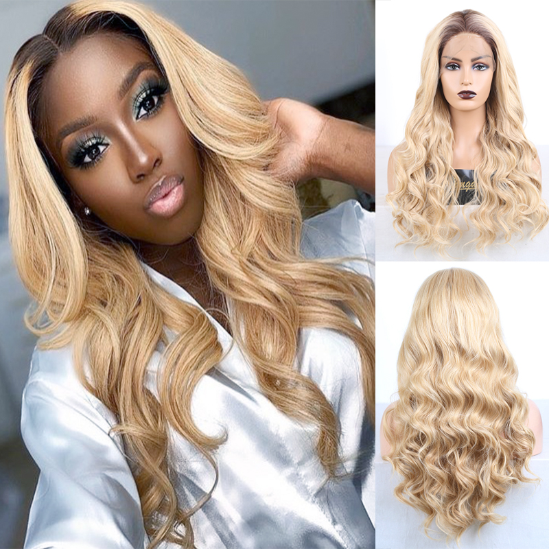 RONGDUOYI Ombre Blonde Heat Resistant Hair Synthetic Lace Front Wig Body Wave Blonded Lace WIgs For Women Long Hair Cosplay Wig