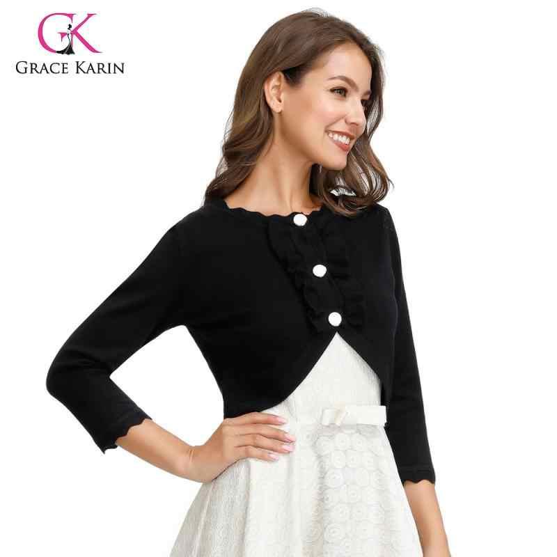 GK moda mujer 3/4 manga Bolero Chaqueta de punto con cuello festoneado volantes decorados abrigo corto señora elegante abrigo Tops