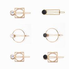 Retro Metal Circle Square Hairpins For Girls Natural Stone Hair Clip Barrettes Wedding Clips Womans Accessories