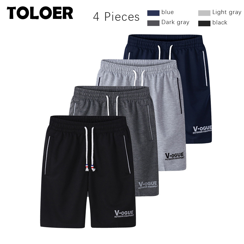 4 Pieces Men''s Summer Shorts 2020 Cotton Casual Bermudas Black Grey Board Shorts Homme Classic Brand Clothing Beach Shorts Male