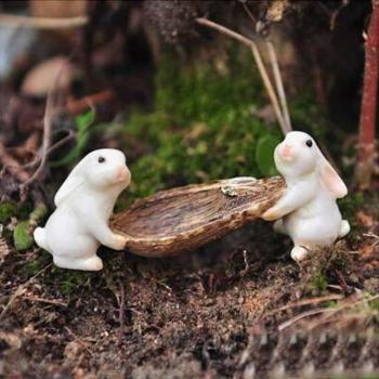Cute Rabbit Animal Miniature Moss Micro Landscape Ornament Decor Resin Mini Bird Egg  Fairy Garden Figurine  Home Decoration 1