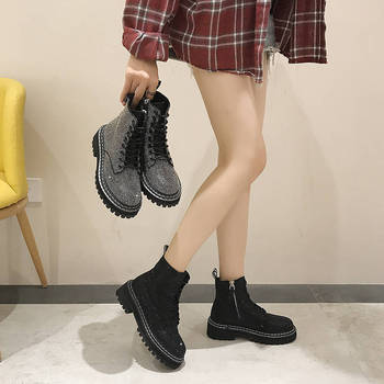 Autumn new full diamond Martin boots British fan car thick heel Chelsea handsome single womens shoes