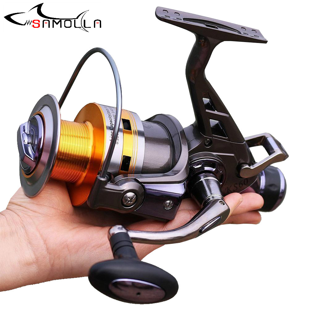 2020 Fishing Reel Strong All Metal Double Brake Max Drag 30kg Spinning Reel Molinete Carp 9+1BB 5.2:1 Fishing Tools Fishing Gear