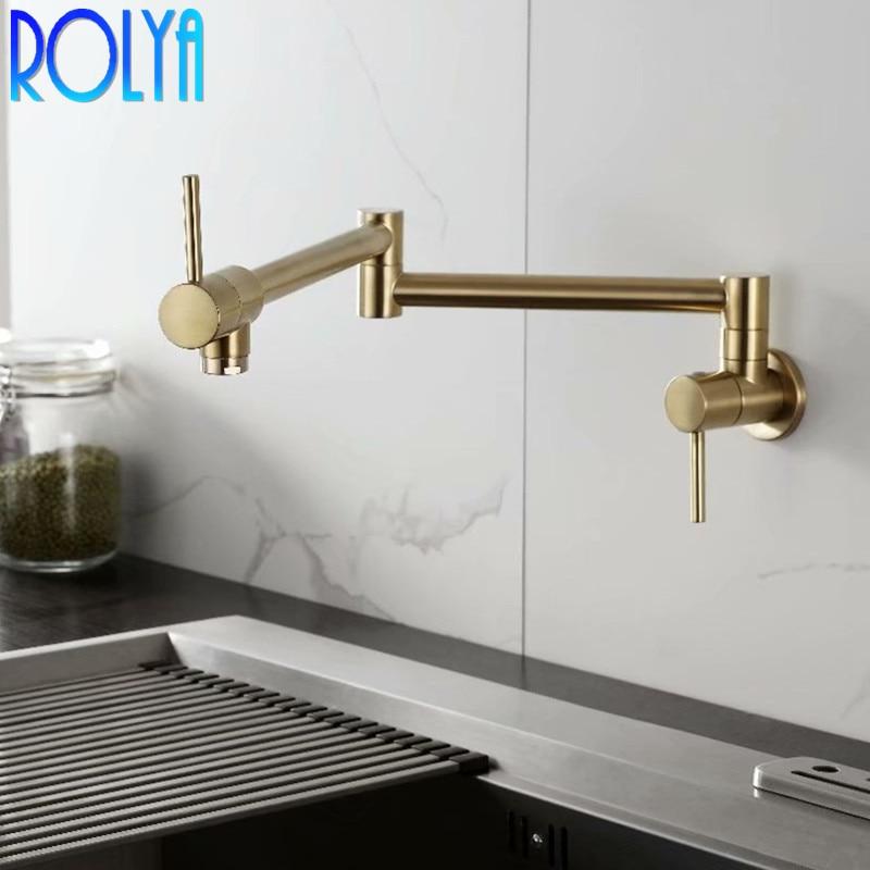 Rolya robinet de remplissage de Pot froid simple en laiton massif robinet de cuisine mural ti-golden - 3