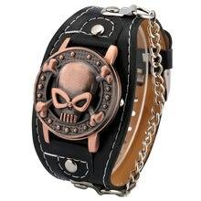 Креативные модные кварцевые часы с раскладной крышкой и черепом