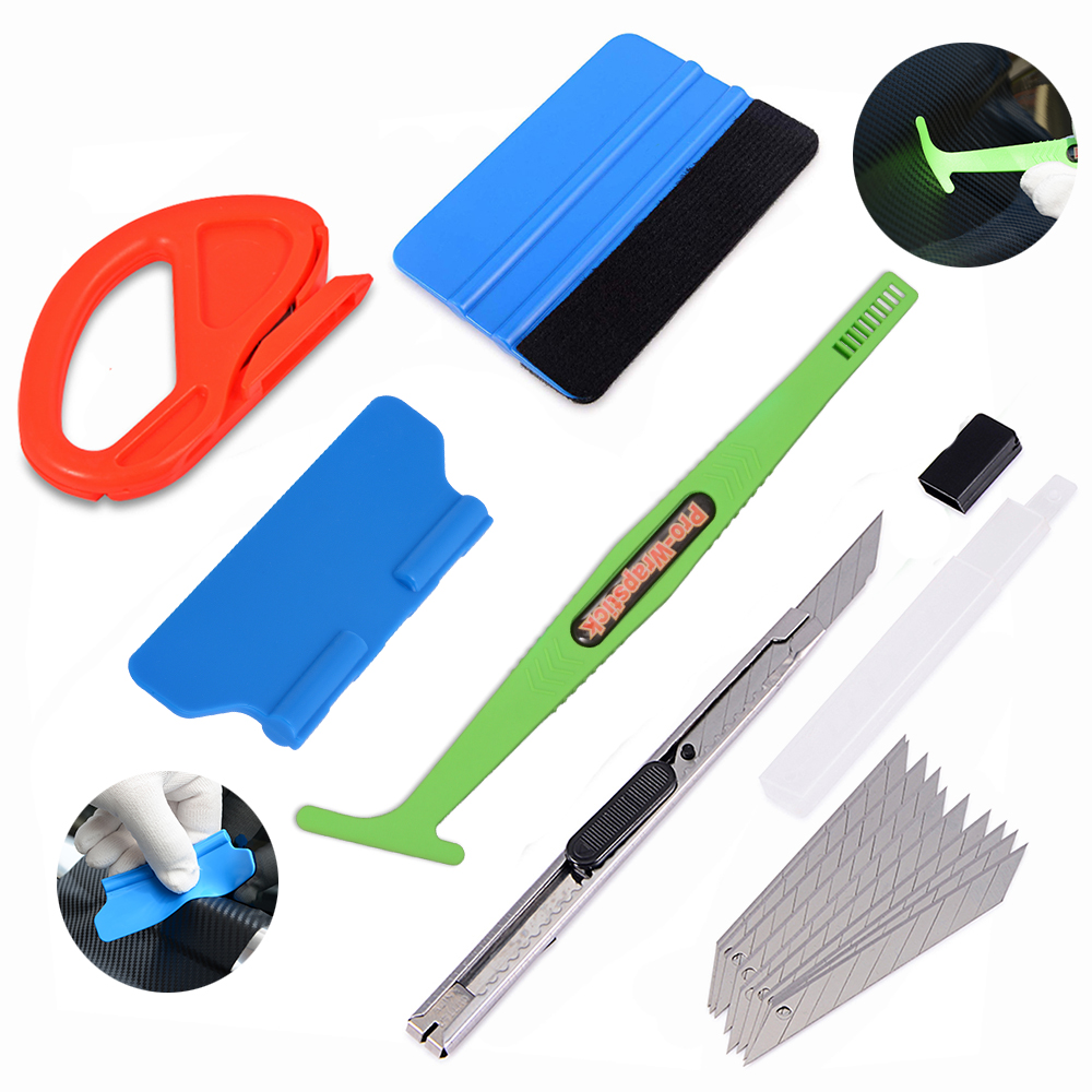 Image 1 - FOSHIO Car Accessories Carbon Fiber Scraper Tools Kit Vinyl Wrap Car Magnetic Stick Squeegee Film Sticker Cutter Wrapping Tools