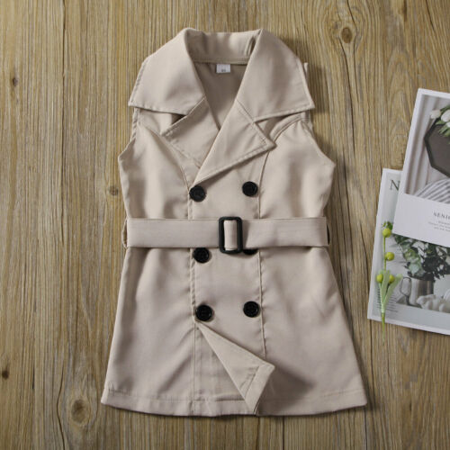 HZYBABY Little Girl Spring Autumn Casual Lightweight Windbreaker Jackets Long Sleeve Solid Trench Coats Tops