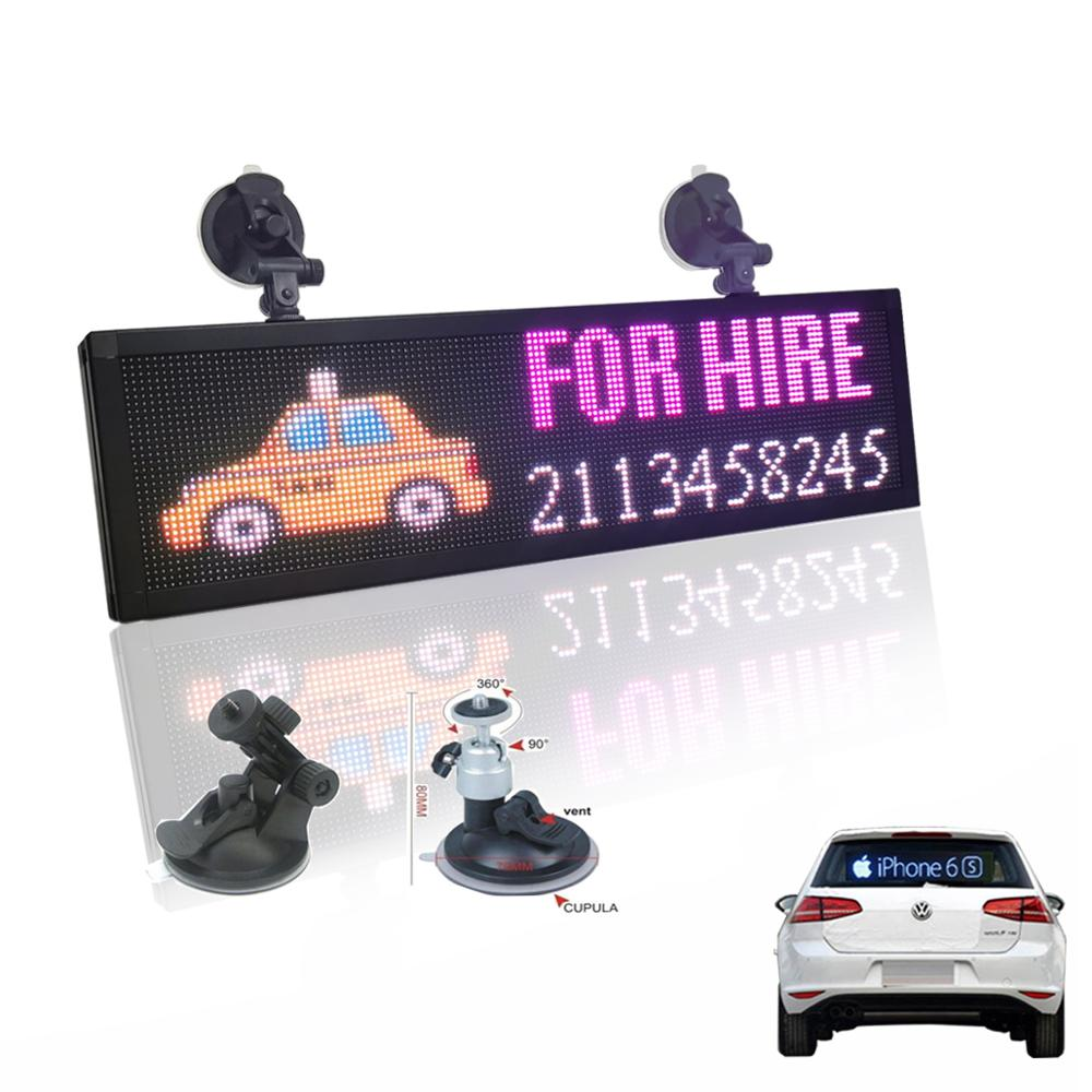 12v Car P4MM 32*128 Pixels RGB Led Sign full color Programmable scrolling information Multi-functio LED taxi display panel