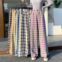 Simple Vintage Plaid Causal Long Women Pants Street Fashion Straight Wide Leg Pant cheap Octeyam Cotton Polyester Full Length CN(Origin) Spring Autumn Casual Wide Leg Pants Flat Loose Ages 18-35 Years Old Pockets