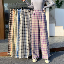 Simple Vintage Plaid Causal Long Women Pants Street Fashion Straight Wide Leg Pant