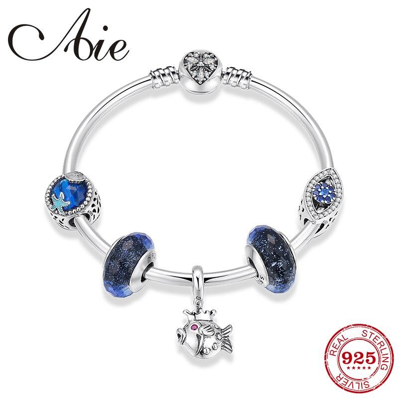 Real 925 Sterling Silver Princess fish Pendants Beads Women Bracelets Bangles Blue Charms Murano Bead Charm Bracelet original