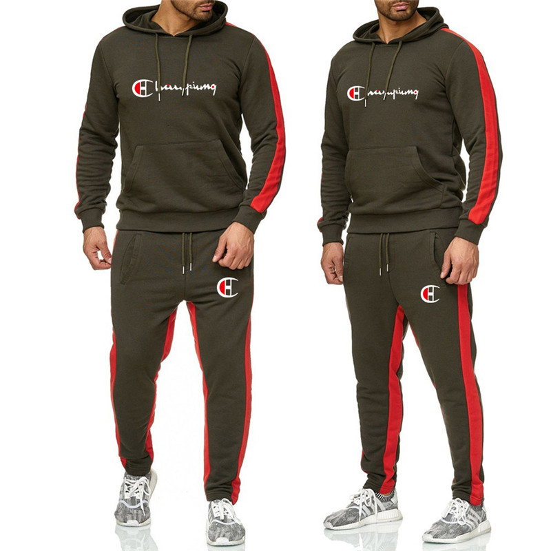 New 2019 Brand Tracksuit Fashion Men women Sportswear Two Piece Sets All Cotton Fleece Thick Hoodie pants Sporting Suit in Running Sets from Sports Entertainment