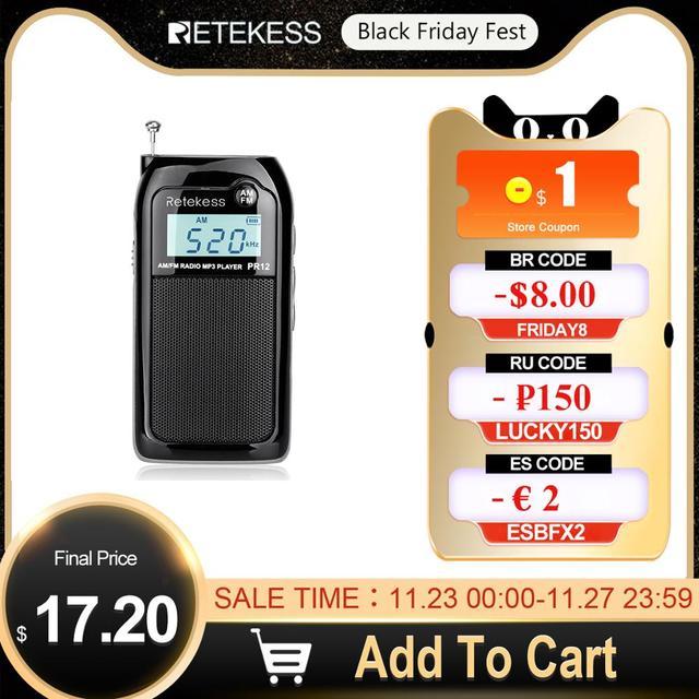 Retekess PR12 Mini kieszeń Radio FM AM cyfrowe Tuning odbiornik radiowy 9K/10K MP3 odtwarzacz muzyczny akumulator Radio przenośne