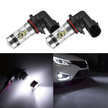 2pcs H10 100W 9145 6000K White LED Headlight Bulbs Kit Fog Light Vehicle 12-24V Driving Fog Light