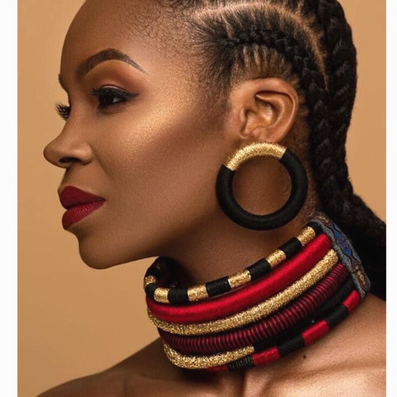 Liffly Brand Necklace Earrings Multi-layer Woven Jewelry Choker Necklace Bridal Wedding Party Africa Beads Jewelry Set For Women