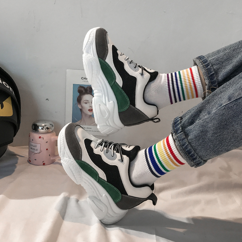 Women Platform Chunky Sneakers 6cm Female Mixed Colors Lace Up Casual Shoes Woman Ladies Leather Sports Old Dad Shoes 2020