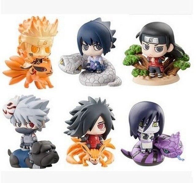 6Pcs/Set Anime Naruto Action Figure Uzumaki Orochimaru Uchiha Sasuke Hatake Kakashi Mini Ninja PVC Collection Model Toys Dolls