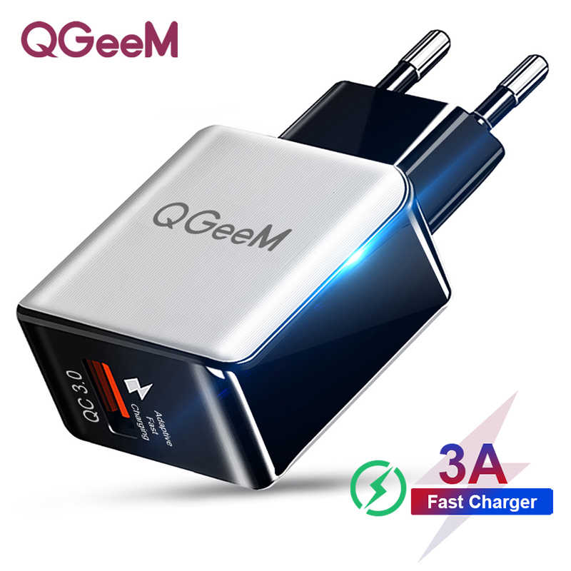 QGEEM QC 3.0 USB Charger Fiber Tekening Quick Charge 3.0 Fast Charger Draagbare Telefoon Opladen Adapter voor iPhone Xiaomi Mi9 EU ONS