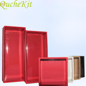 10Pcs White Kraft Paper Gift Box With Transparent PVC Window Black Cake Boxes Red Wedding Cookie Candy Packaging Boxes