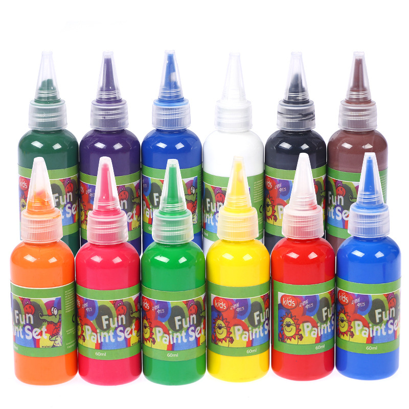 6/12 Color 60ml Watercolor Paint Kindergarten Children DIY  Painting Wash Paint Finger Paint/ Art Supplies