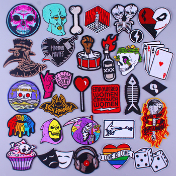 Punk Skull Patch On Clothes Embroidered Patches For Clothing Rock Stripe Patch Iron On Patches For Clothes Applique Stickers DIY big punk skull patch iron biker morale wings back patch badge large embroidery patches for clothes jacket jeans applique nl210