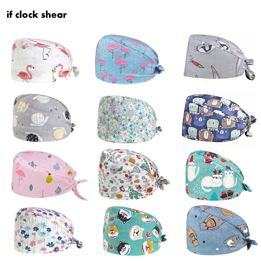 Animal Lab Clinic Hat Salon Cap Printing Medical Nurse Surgical Cap Operating Room Hats Lab Scrubs Hat Unisex Pet Hospital Cap