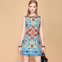 Baogarret 2019 Fashion Runway Summer Dress Elegant Womens Sleeveless Gorgeous Crystal Beading Vintage Short Mini