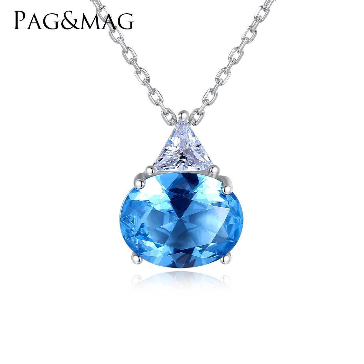 PAG & MAG new European and American fashion S925 pure silver necklace women's oval crystal color treasure Necklace(China)