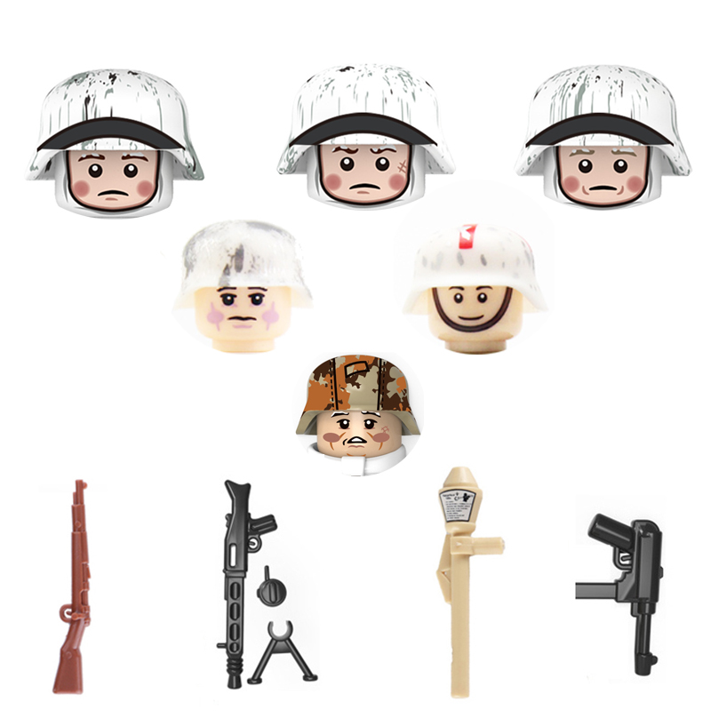 Military WW2 Soldier Weapon Building Blocks WW2 German Army Winter Snow Soldier Figures Weapons Parts Bricks Toy For Children