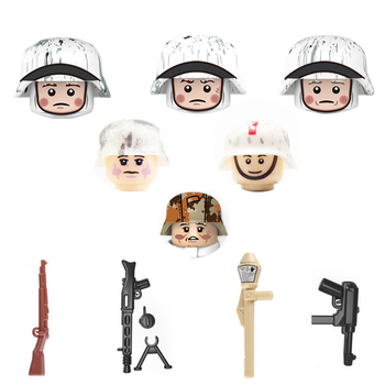 Military WW2 soldier Weapon Building Blocks WW2 German Army Winter snow soldier Figures Weapons parts Bricks Toy For Children 524 pcs military technic tank building blocks toys weapon figures ww2 army soldier creator toy educational bricks for children