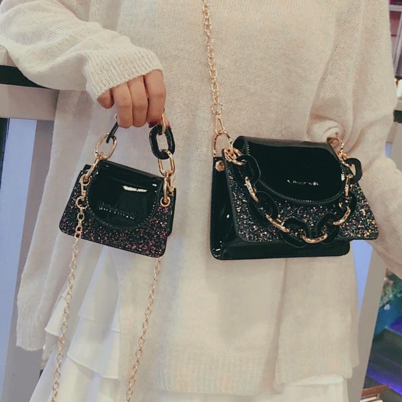 Элегантная женская мини сумка с пайетками 2019 модная качественная женская дизайнерская сумка из лакированной кожи с цепочкой через плечо