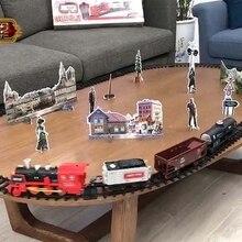 Children Electric Remote Control Rail Train Set Simulation DIY Assembly Model Train Toy Classic Steam Train Kids Birthday Gift