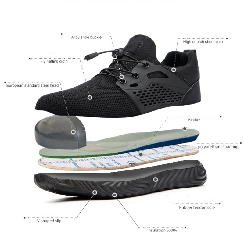 Jackshibo Breathable Safety Work Shoes For Men Male Anti-smashing Steel Toe Working Boots Indestructible Safety Shoes Sneakers 2
