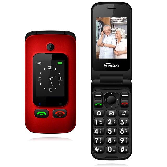 원래 yingtai t22 3g mtk6276 gprs mms 큰 푸시 버튼 수석 전화 듀얼 sim 듀얼 스크린 플립 휴대 전화 노인 2.4 인치