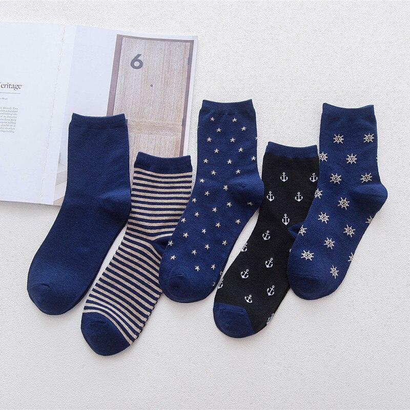 Мужские темно-синие носки, деловые носки, полосатые, якорь, звезда, снег, Мужские осенне-зимние круглые, удобные носки из хлопка, повседневны...