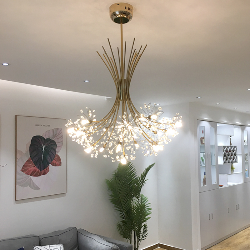 Luxury LED Chandeliers Art deco Gold Chandelier Pendant For Living room Kitchen Post Modern Bedroom Crystal Lighting lampadario|Chandeliers| |  - title=
