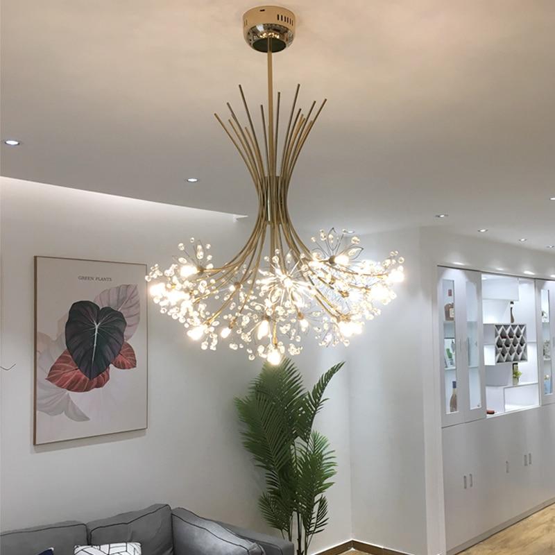 Luxury LED Chandeliers Art Deco Gold Chandelier Pendant For Living Room Kitchen Post Modern Bedroom Crystal Lighting Lampadario