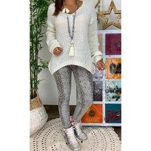 OEAK 2019 Fashion Womens Autumn Winter V-neck Sweater Solid Long Sleeve Loose Casual Streetwear Pullovers Women