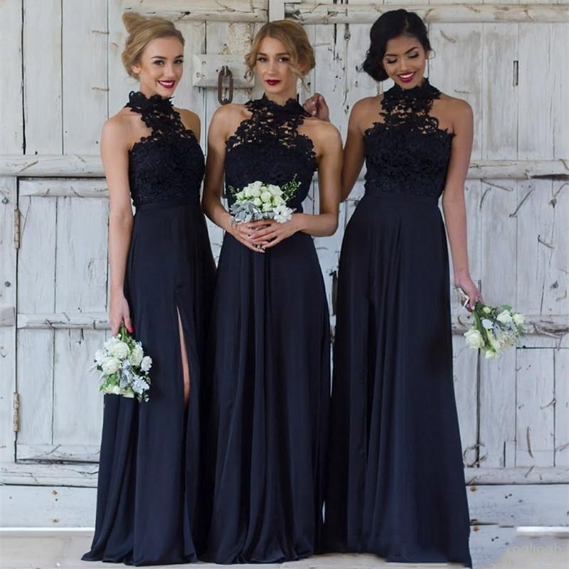 Navy Blue High Neck Long Bridesmaid Dresses Sexy Side Split Lace Dresses Guest Dress Sweep Train Maid Of Honor Gowns
