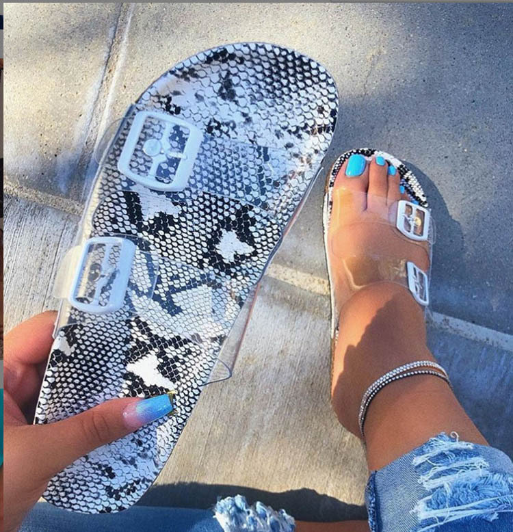 Womens Sandals Leopard Snake Print Summer Outside Slippers Ladies Cute Flat Buckle Hot