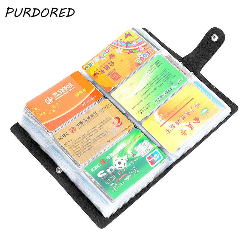 PURDORED 1 Pc 156 Bits Card Bag Unisex  Business Card Holder PU Leather Credit Card Bag Carteira Mujer Dropshipping