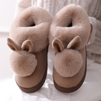 2021 New Fashion Autumn Winter Cotton Slippers Rabbit Ear Home Indoor Slippers Winter Warm Shoes Womens Cute Plus Plush Slippers 4