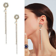 pair of graceful rhinestone circle earrings jewelry for women New Fashion Temperament Fringe Circle Dangle Earrings Rhinestone Long Drop Earrings For Women Jewelry