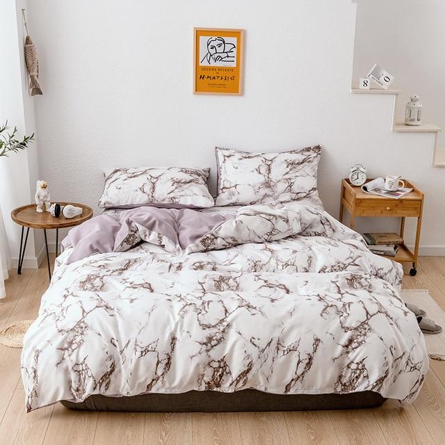 Bedding Set Marbled Brown on White