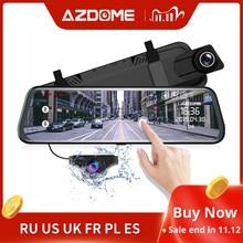 """Azdompg02 10 """"مرآة اندفاعة كام تدفق وسائل الإعلام كامل الشاشة لمس ADAS عدسة مزدوجة للرؤية الليلية 1080P الجبهة 720P النسخ الاحتياطي جهاز تسجيل فيديو رقمي للسيارات"""