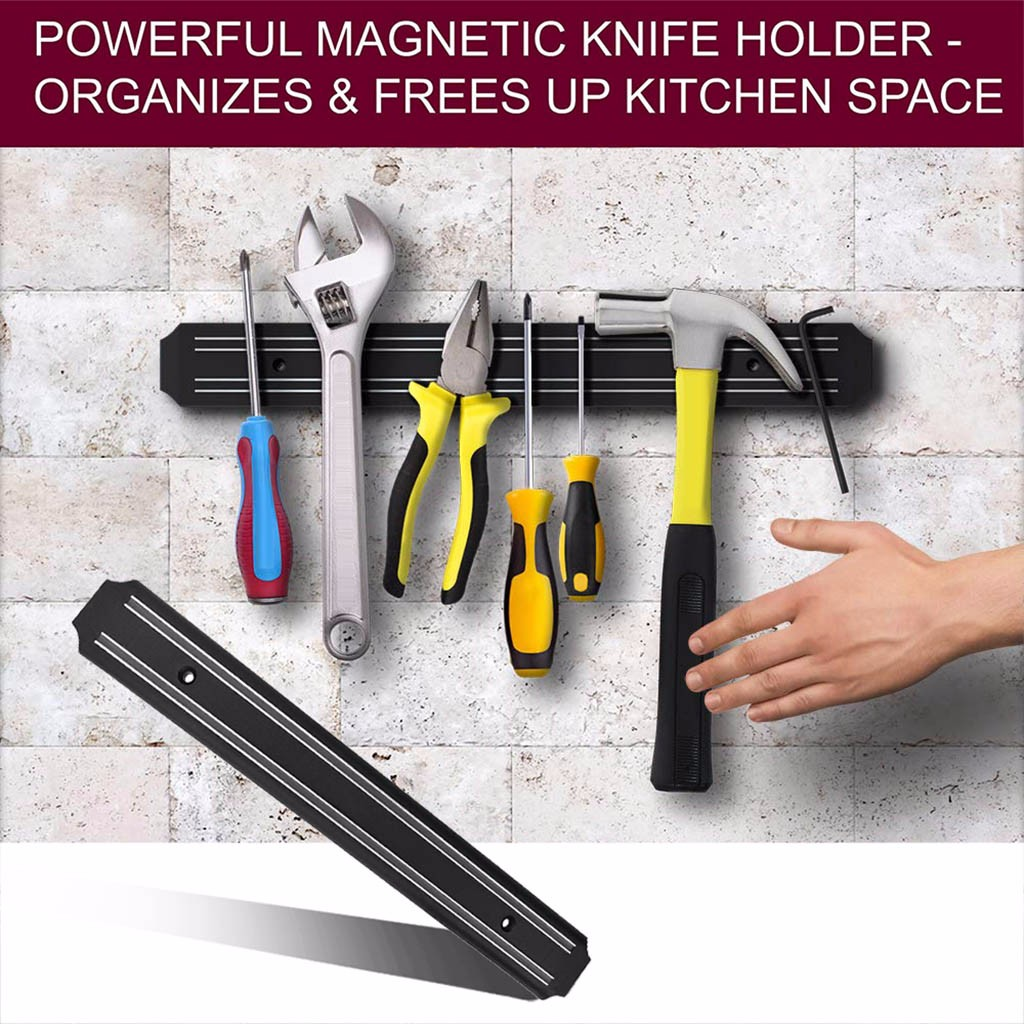Wall Mounted Kitchen Knife Magnet holder Bar Holder Display Rack Strip 33cm Magnetic Wall Mounted Display Rack Strip#1017g20
