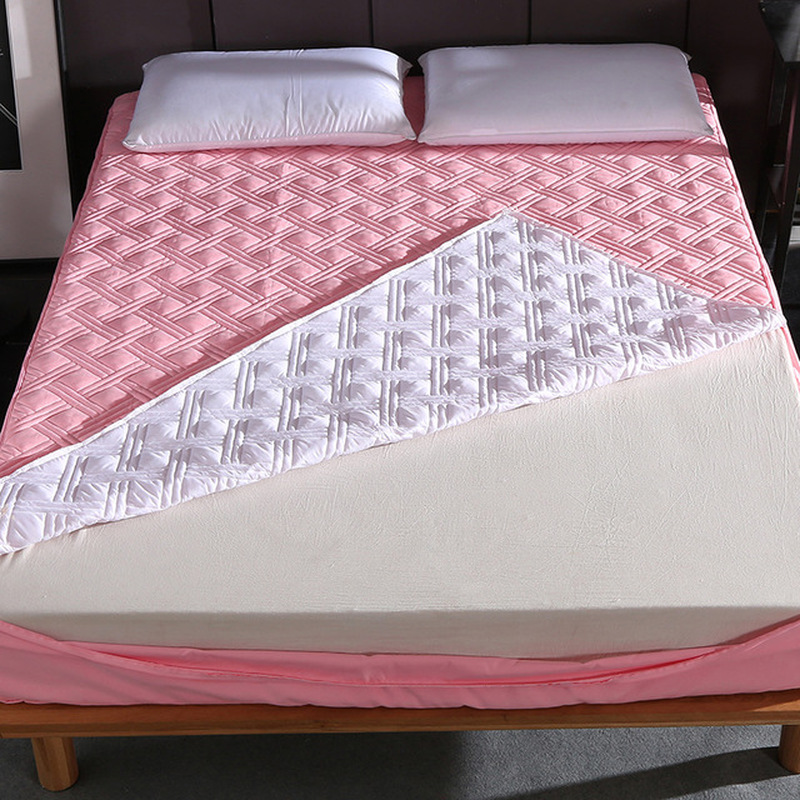 New Six Sides All Inclusive Quilted Mattress Cover Soft Fiber Topper Pad Plain Solid Color Bed Mattress Protector Anti Dust Mite