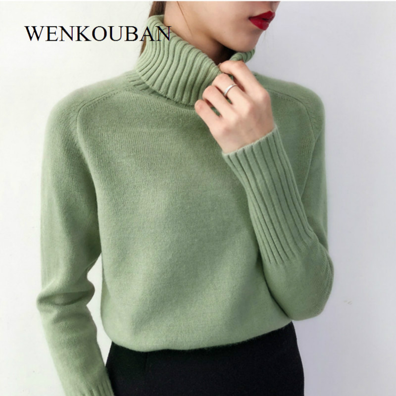 Women Sweaters 2019 Autumn Winter Cashmere Knitted Female Turtleneck Sweater Casual Thin Pullover Fashion Tricot Jersey Jumper